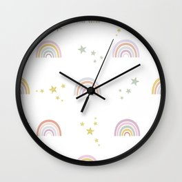 Baby rainbow with stars seamless repeat trendy pattern pastel colored for fabric design Wall Clock