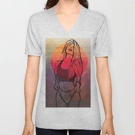 Geometric Sexy Girl Sketch Unisex V-Neck