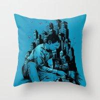 The Village Painter Throw Pillow