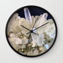 Clear Quartz growing with Pyrite Wall Clock