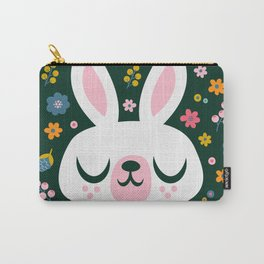 Bunny with a Scarf and Flowers / Cute Animal Carry-All Pouch