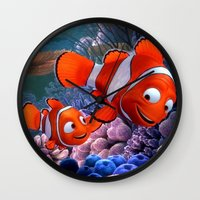 finding nemo Wall Clocks featuring Nemo by Max Jones