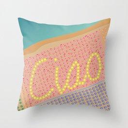 Ciao / Hello Italy Beach Umbrellas - Aerial Italian Throw Pillow