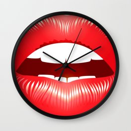 Red sexy lips Wall Clock