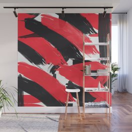 Modern Abstract Black Red Brush Strokes Pattern Wall Mural