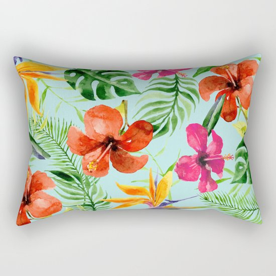 Colorful Tropical Pattern Rectangular Pillow