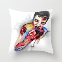 zombie Throw Pillows featuring Zombie by Camille Ratté