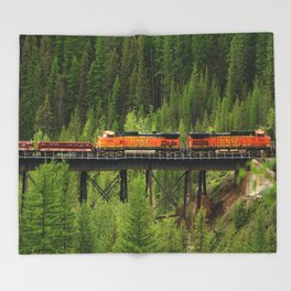 BNSF Going Over Goat Lick Creek Throw Blanket