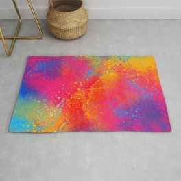 Bohemian 1960's Psychedelic Abstract Splatter Design Rug