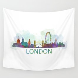 London UK Skyline HQ watercolor Wall Tapestry
