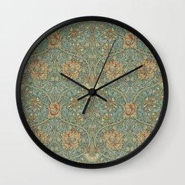 William Morris Vintage Honeysuckle & Tulip Green Privet Honeycomb Floral Wall Clock