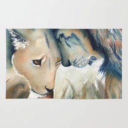 Watercolor Lion and Lioness Rug