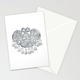 Watercolor Illustration of Chinese Miao traditional silver jewelry   苗族银饰 Stationery Cards