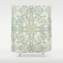 Soft Sage & Cream hand drawn floral pattern Shower Curtain