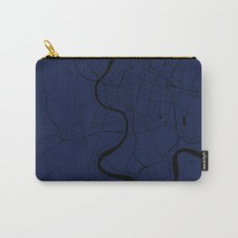 Bangkok Thailand Minimal Street Map - Navy Blue and Black Carry-All Pouch