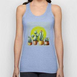 """Green Lemon Cactus Polka Dots"" Unisex Tank Top"