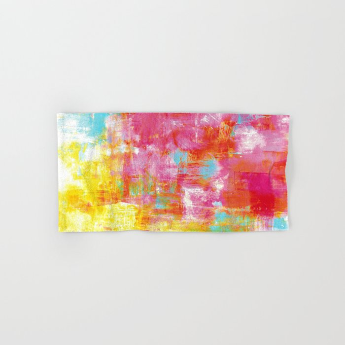 OFF THE GRID 2 Colorful Pink Pastel Neon Abstract Watercolor Acrylic Textural Art Painting Rainbow Hand & Bath Towel