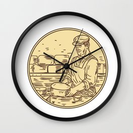 Cheesemaker Making Cheddar Cheese Circle Drawing Wall Clock