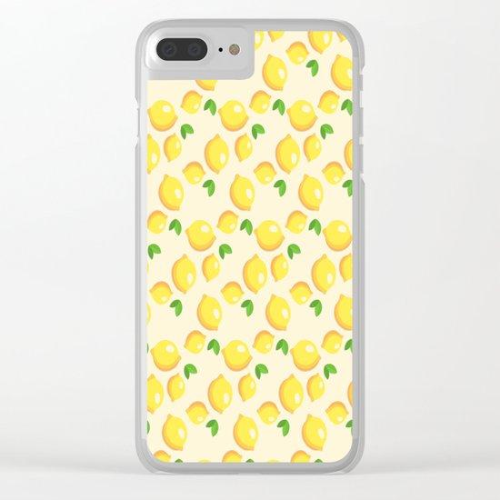Lemon Pattern Clear iPhone Case