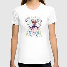 Pit Bull, Pitbull Watercolor Pet Portrait Painting - Tango T-shirt