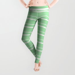 Linen Off White Horizontal Line Pattern 3 on Pastel Green Pairs to 2020 Color of the Year Neo Mint Leggings