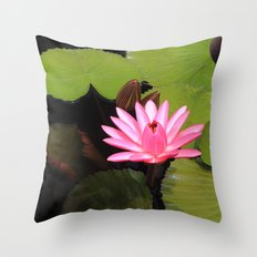 pink lily pad flower Throw Pillow