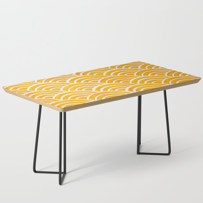 Japanese Seigaiha Wave – Marigold Palette Coffee Table