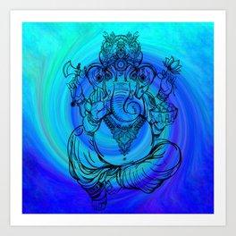 Lord Ganesha on Blue Spiral Art Print