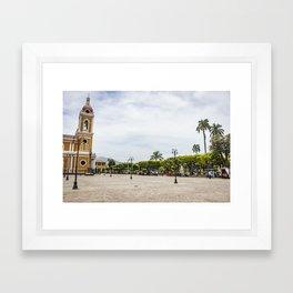Granada Cathedral at the Parque Colon de Granada in Nicaragua Framed Art Print