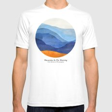 Mountains in the Morning White Mens Fitted Tee MEDIUM