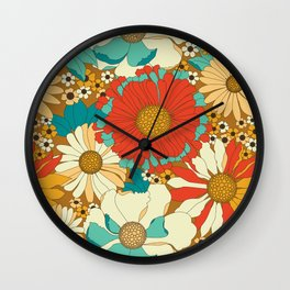 Red, Orange, Turquoise & Brown Retro Floral Pattern Wall Clock