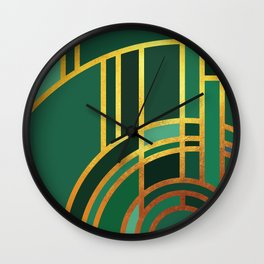 Art Deco Morning Sun In Emerald Wall Clock