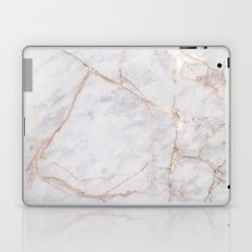 White Italian Marble & Gold Laptop & iPad Skin