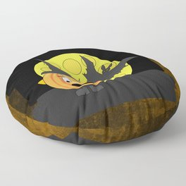 Funny shocked pumpkin head with bat and moon Floor Pillow