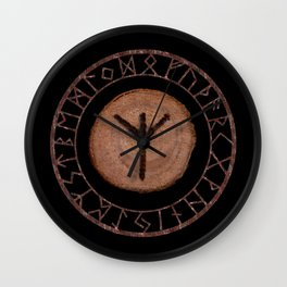 Algiz Elder Futhark Rune divinity, higher self, the state of listening, protective teaching force Wall Clock