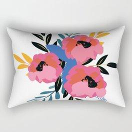 Pink Blue Floral Rectangular Pillow