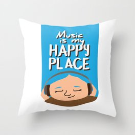 Music is my happy place - Blue Throw Pillow