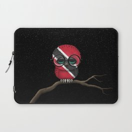 Baby Owl with Glasses and Trinidadian Flag Laptop Sleeve