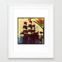 pirate ship Framed Art Prints featuring pirate ship by Ancello