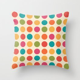 Mid Century Color Dots Throw Pillow