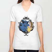 beauty and the beast V-neck T-shirts featuring Beauty and Beast by Don Calamari