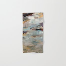 Gentle Beauty [3] - an elegant acrylic piece in deep purple, red, gold, and white Hand & Bath Towel