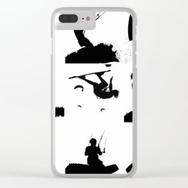 Wakeboarder Silhouette Collage Clear iPhone Case