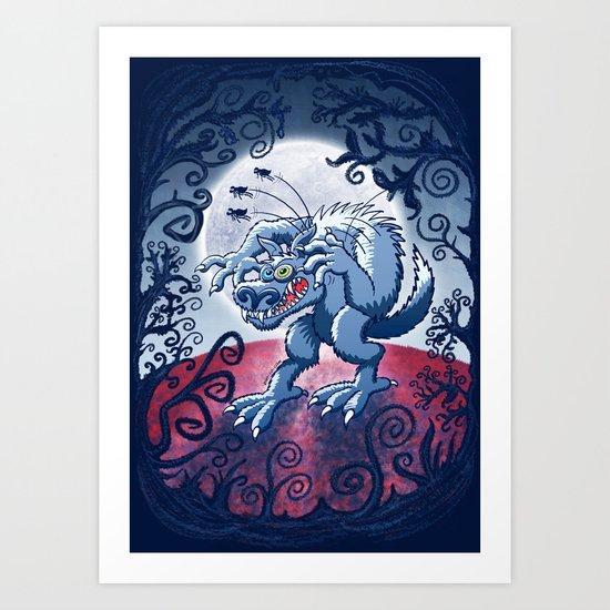 Werewolf Scratching Spooky Fleas Art Print