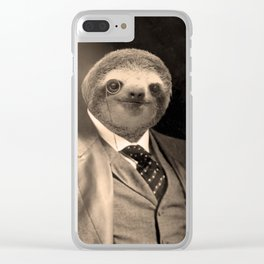 Gentleman Sloth with Monocle Clear iPhone Case