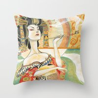 klimt Throw Pillows featuring Klimt Oiran by Sara Richard