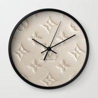 lv Wall Clocks featuring LV Cream by Beauti Asylum