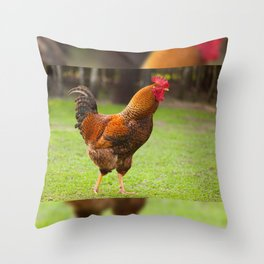 portrait Rhode Island Red rooster Throw Pillow