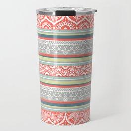 Boho Mandala Coral Striped Pattern Travel Mug