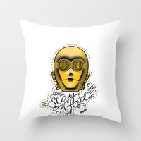 stay gold Throw Pillows featuring Stay Gold by Amanda Marie Bell